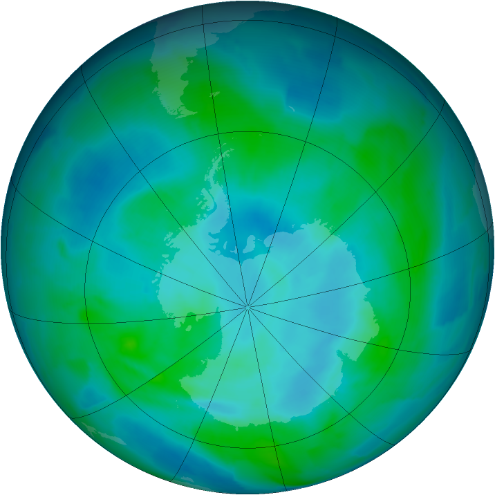 Antarctic ozone map for 17 February 2013
