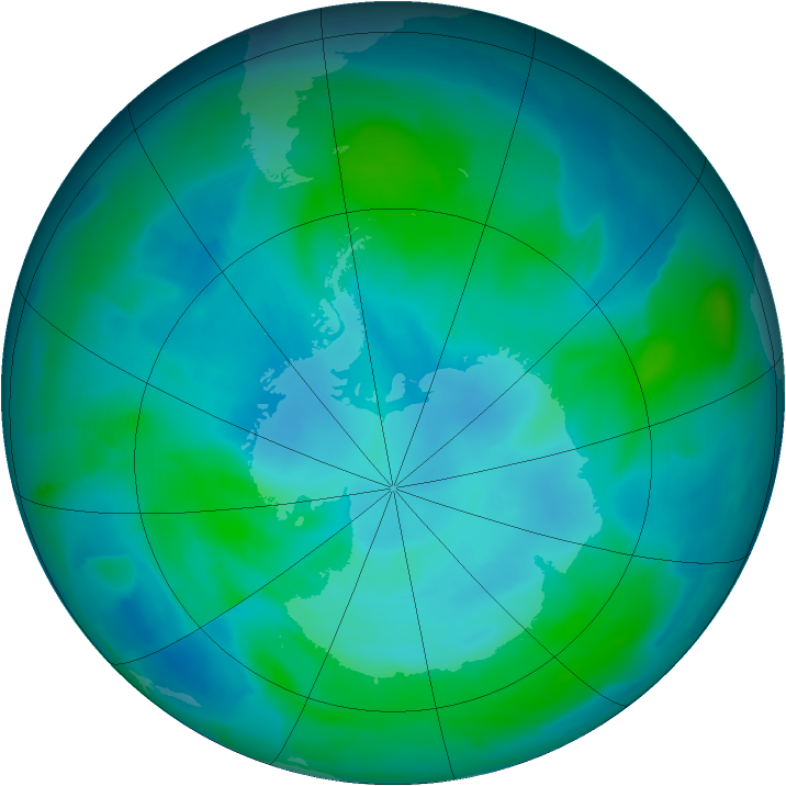 Antarctic ozone map for 19 February 2013