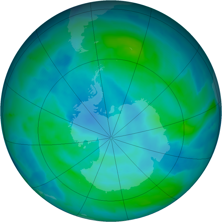 Antarctic ozone map for 20 February 2013