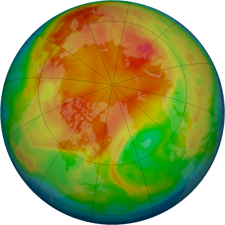 Arctic ozone map for 21 February 2013