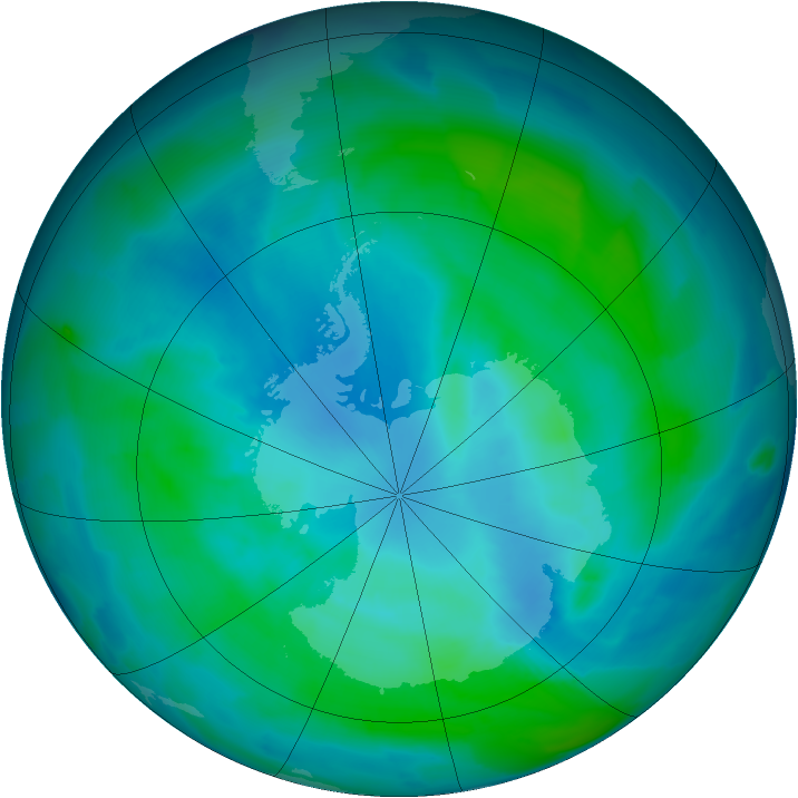 Antarctic ozone map for 21 February 2013