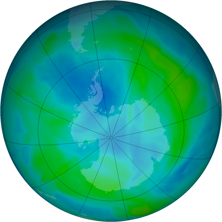 Antarctic ozone map for 22 February 2013