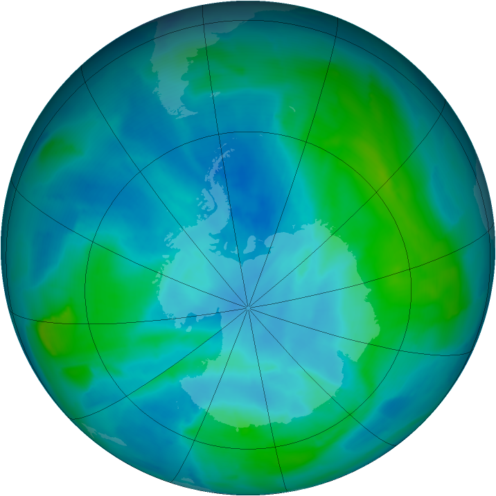Antarctic ozone map for 24 February 2013