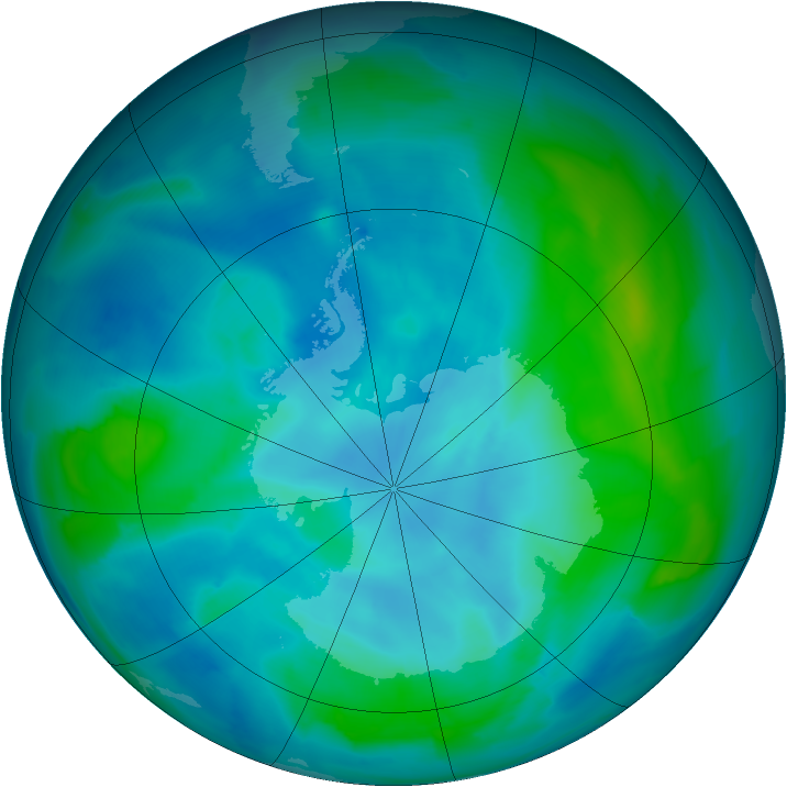 Antarctic ozone map for 25 February 2013