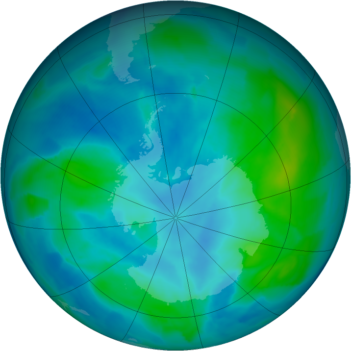 Antarctic ozone map for 26 February 2013