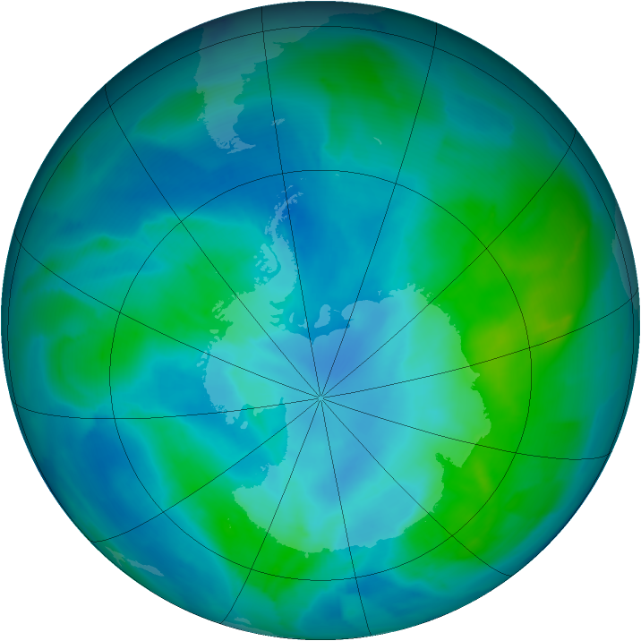 Antarctic ozone map for 27 February 2013