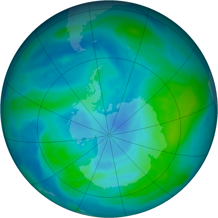Antarctic ozone map for 28 February 2013