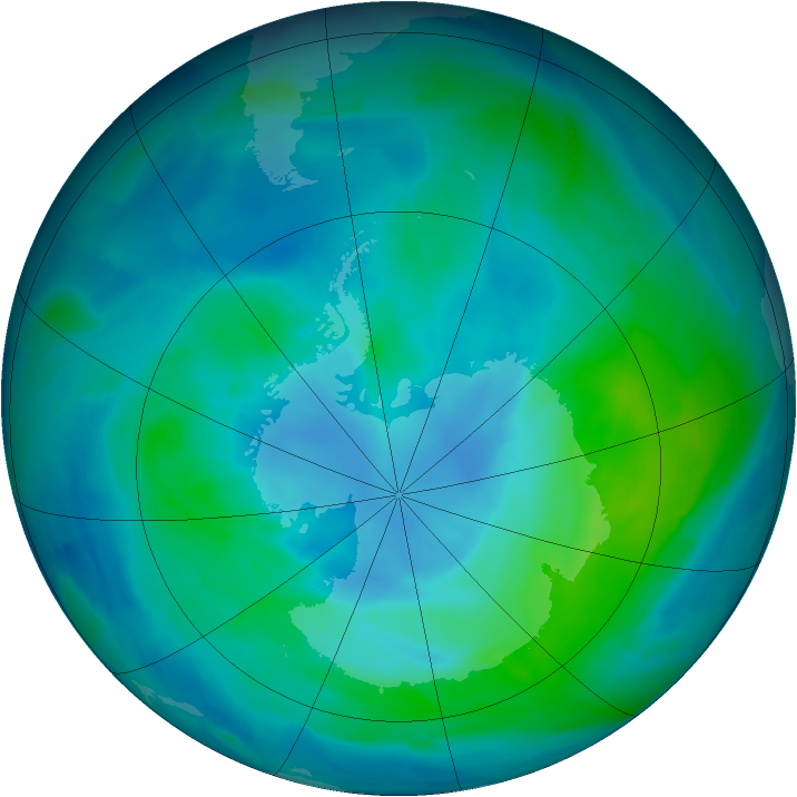 Antarctic ozone map for 01 March 2013
