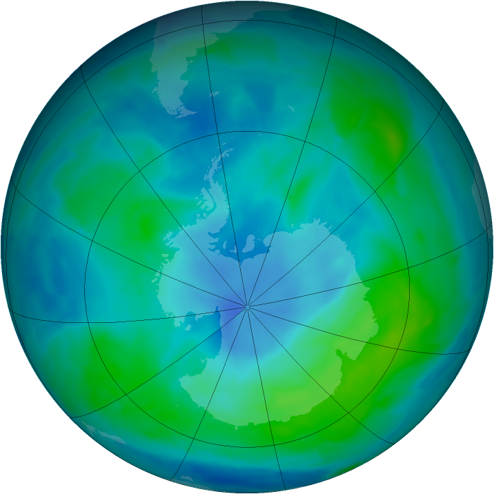 Antarctic ozone map for 03 March 2013