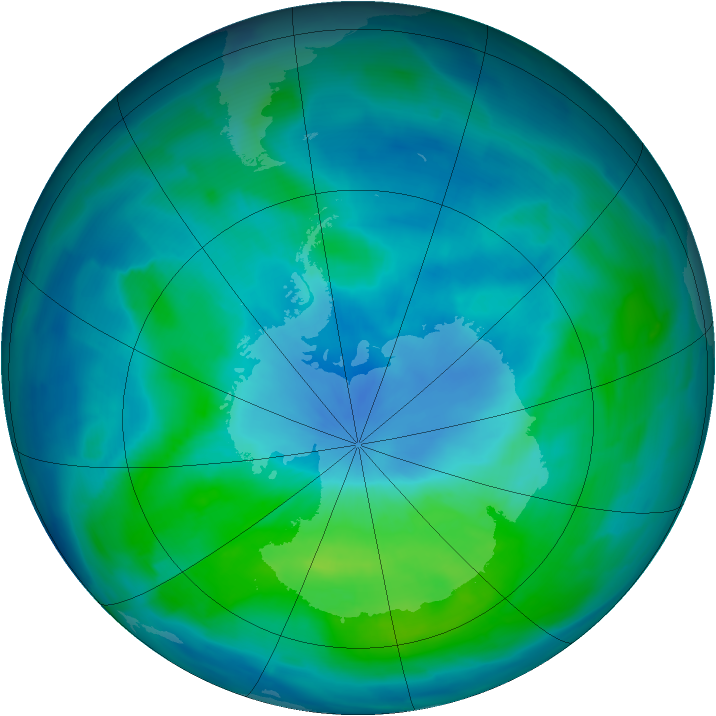 Antarctic ozone map for 06 March 2013