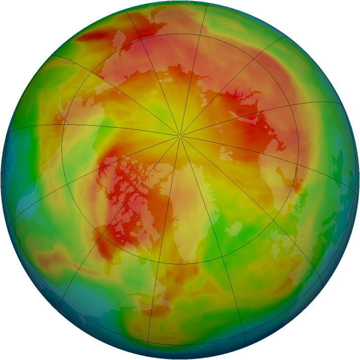 Arctic ozone map for 10 March 2013