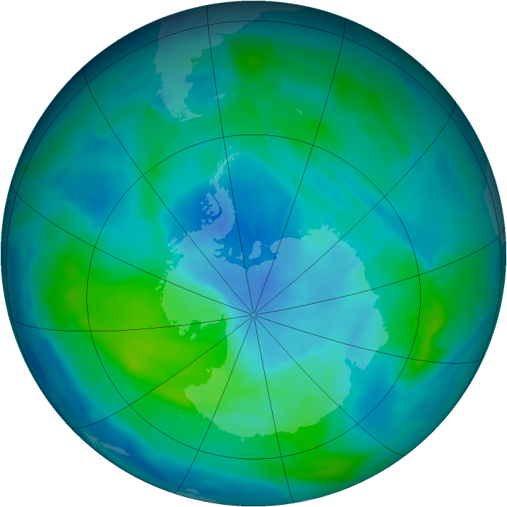 Antarctic ozone map for 10 March 2013