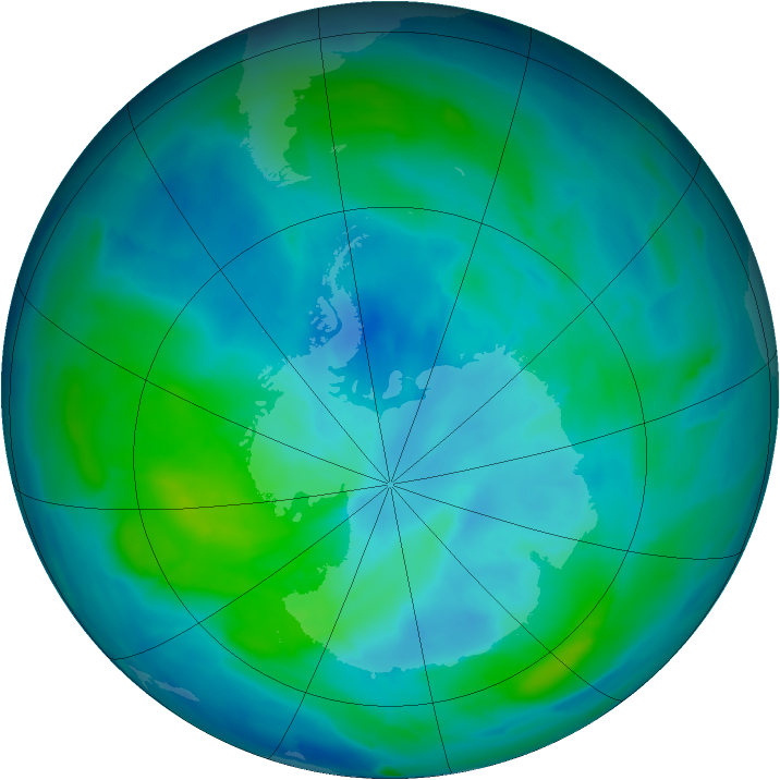Antarctic ozone map for 12 March 2013