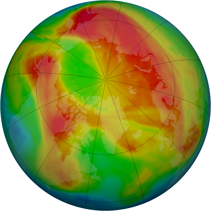 Arctic ozone map for 14 March 2013