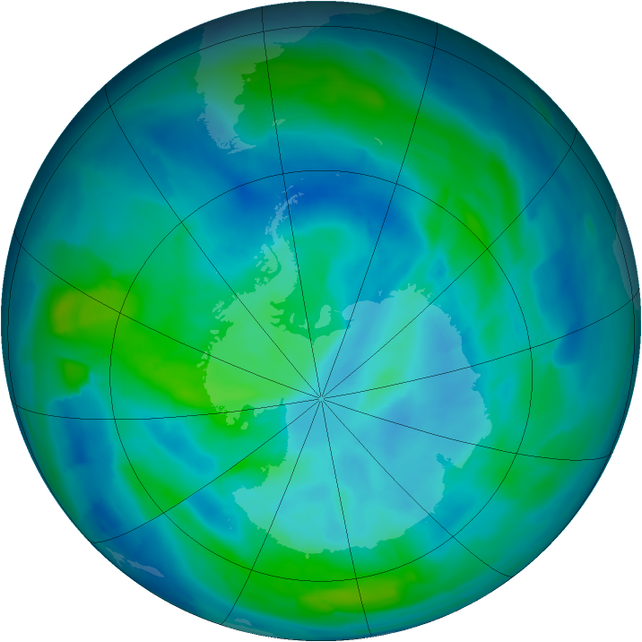 Antarctic ozone map for 14 March 2013