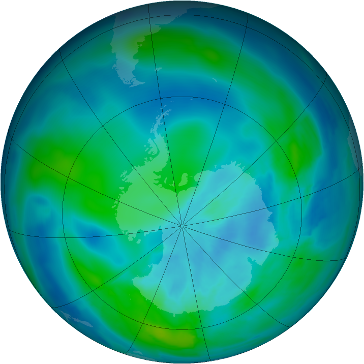 Antarctic ozone map for 15 March 2013