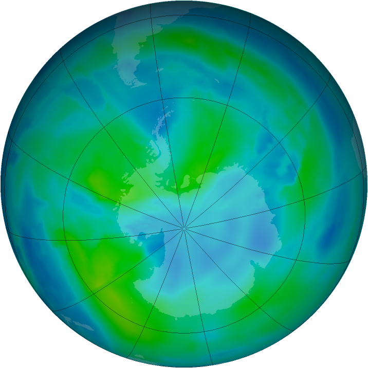 Antarctic ozone map for 16 March 2013