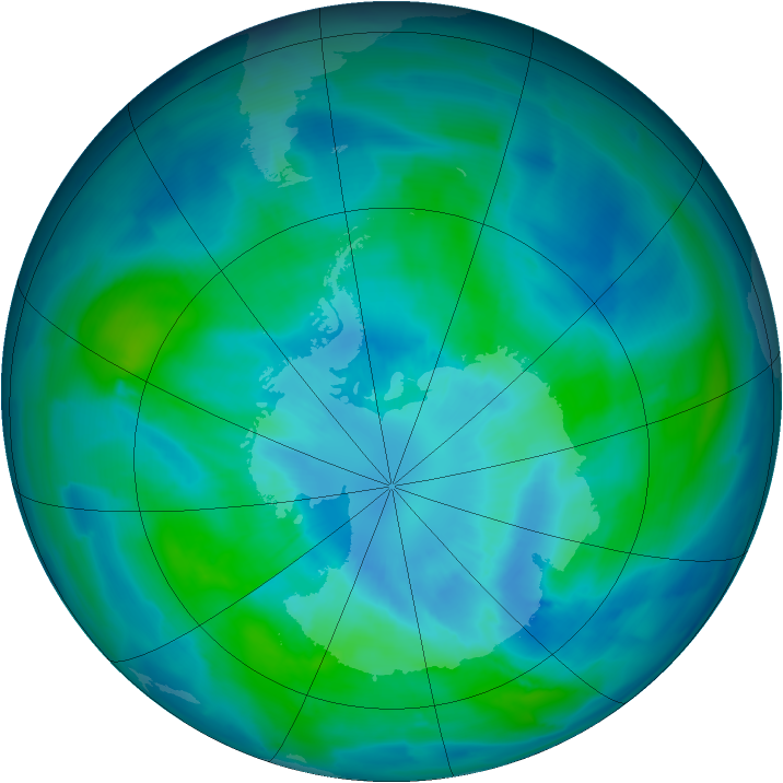 Antarctic ozone map for 24 March 2013