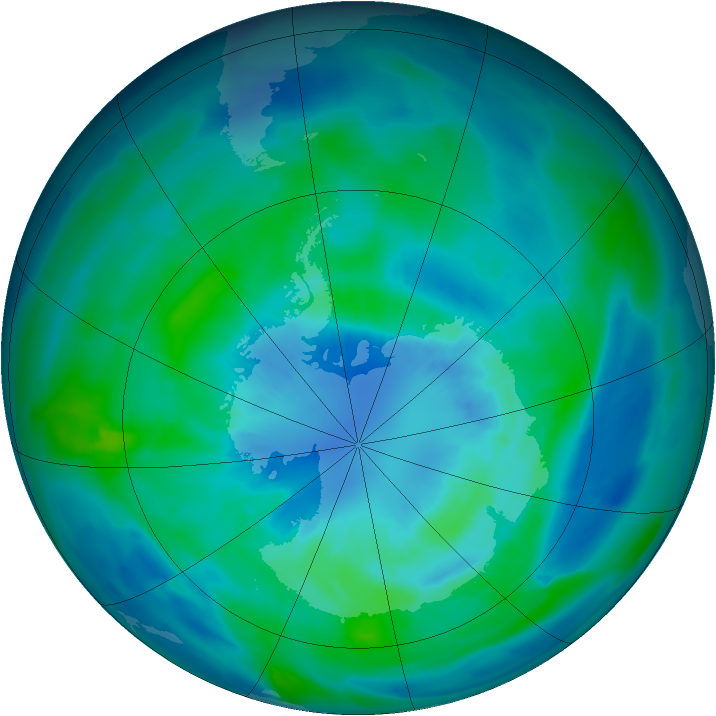Antarctic ozone map for 28 March 2013