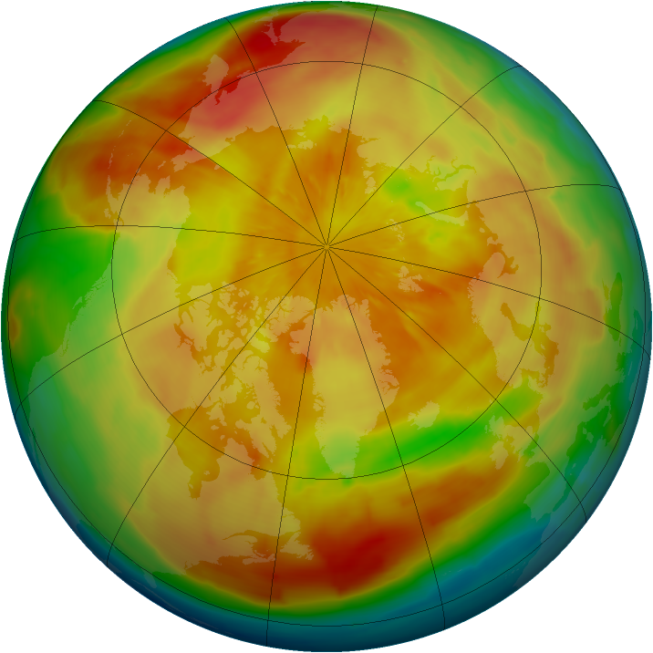 Arctic ozone map for 29 March 2013