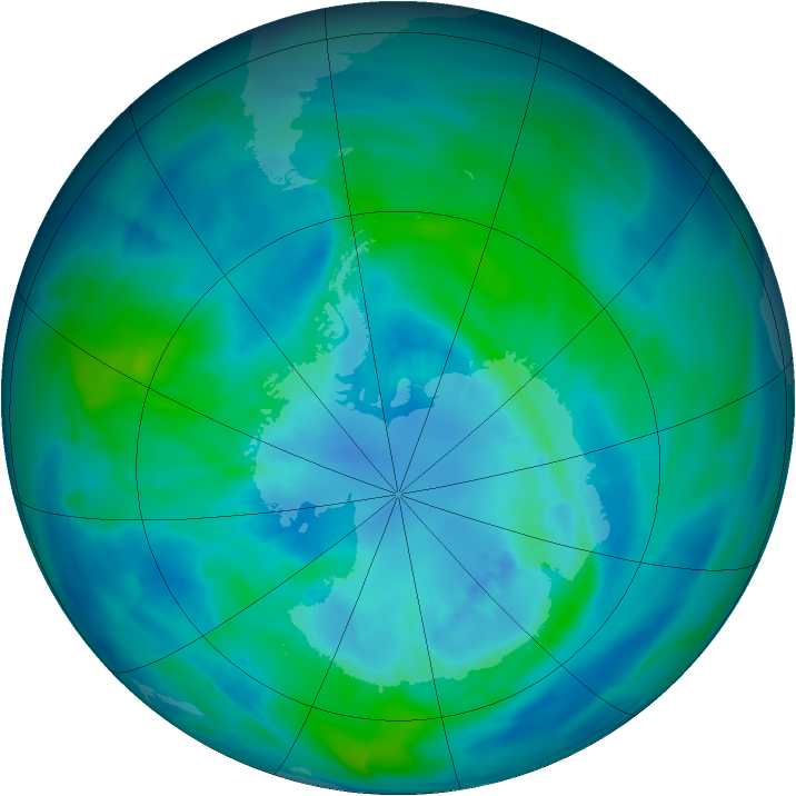 Antarctic ozone map for 30 March 2013