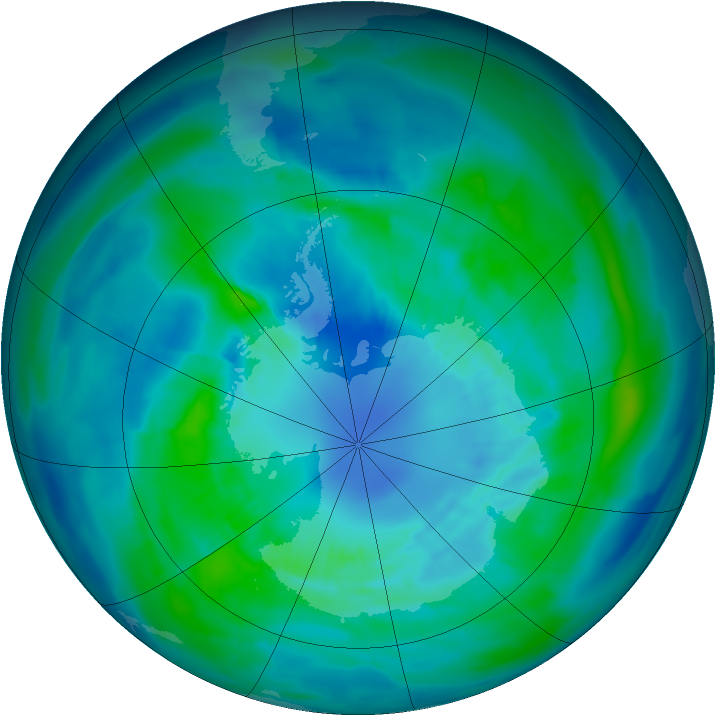 Antarctic ozone map for 04 April 2013