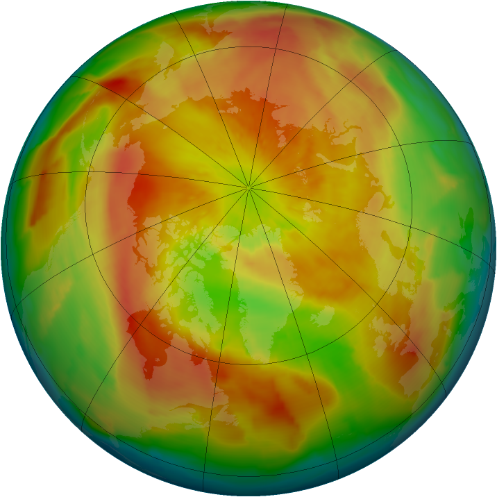 Arctic ozone map for 05 April 2013