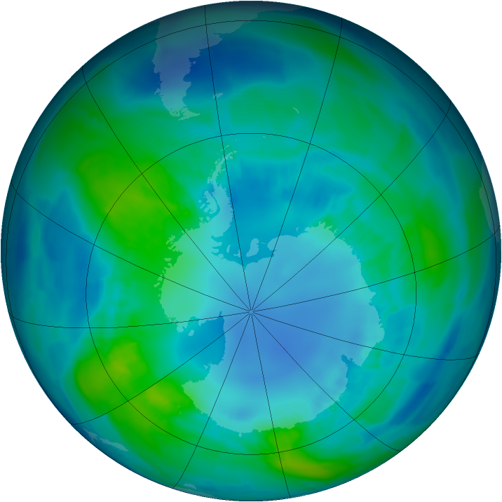 Antarctic ozone map for 19 April 2013