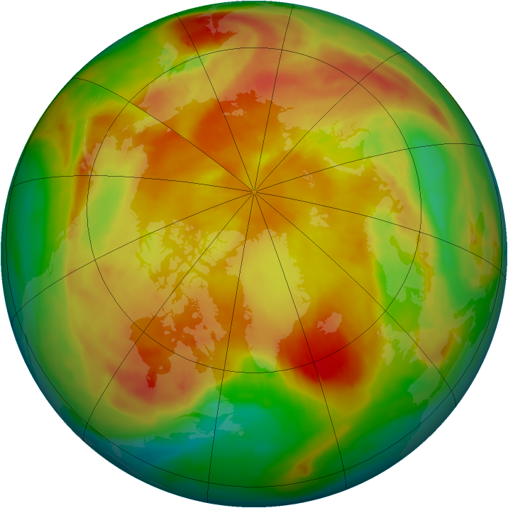 Arctic ozone map for 20 April 2013