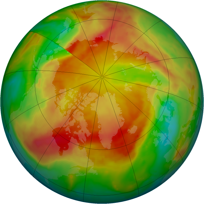 Arctic ozone map for 24 April 2013