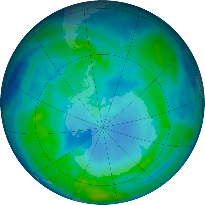 Antarctic ozone map for 30 April 2013