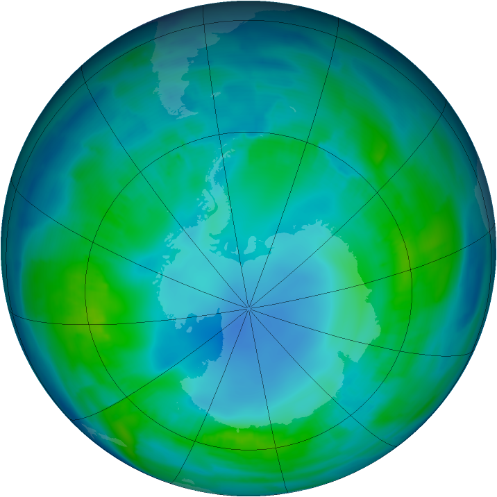 Antarctic ozone map for 02 May 2013