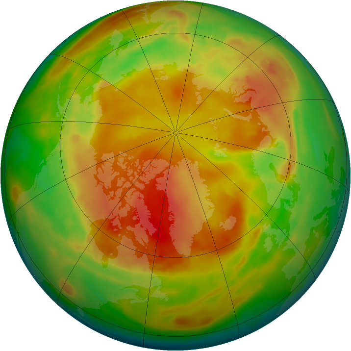Arctic ozone map for 05 May 2013