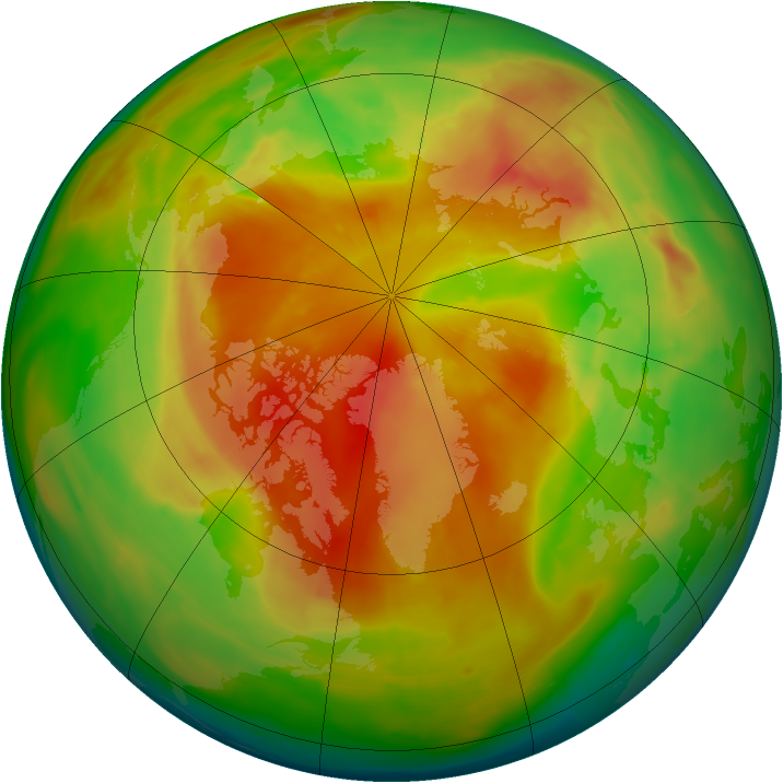 Arctic ozone map for 07 May 2013