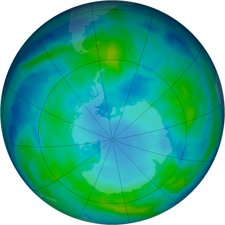 Antarctic ozone map for 07 May 2013