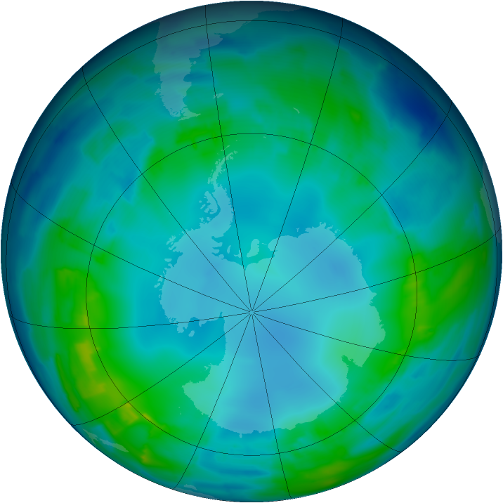 Antarctic ozone map for 09 May 2013