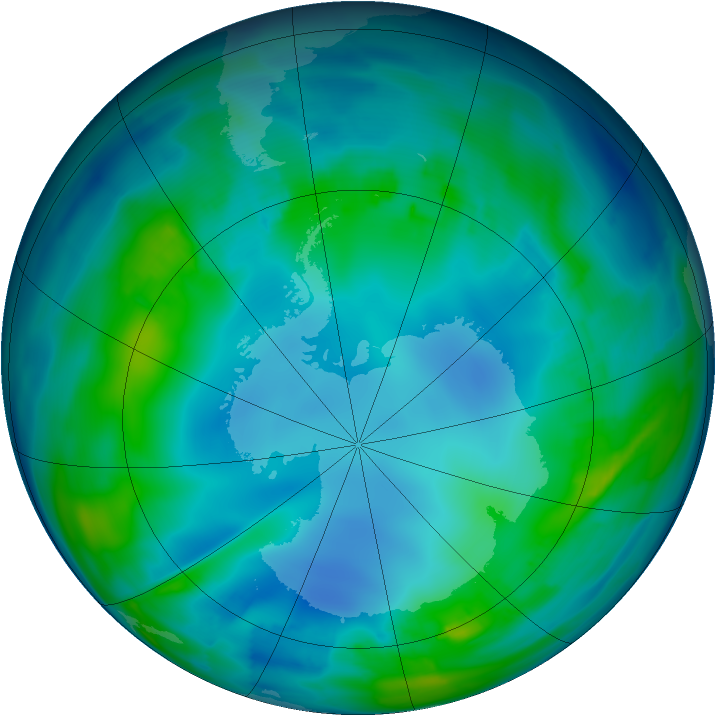 Antarctic ozone map for 10 May 2013