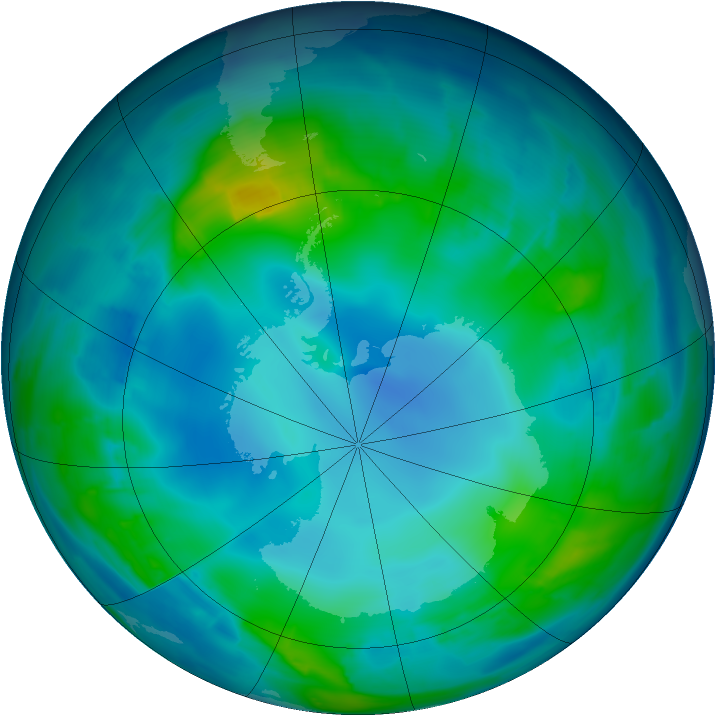 Antarctic ozone map for 12 May 2013