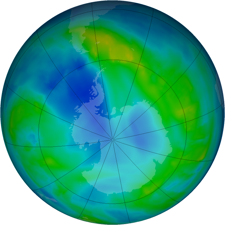 Antarctic ozone map for 14 May 2013