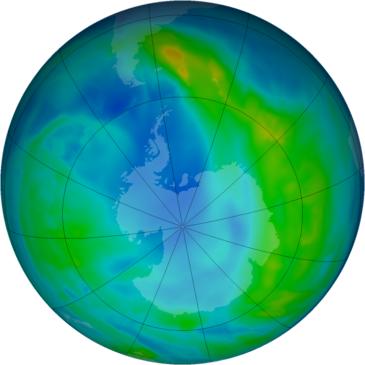Antarctic ozone map for 15 May 2013