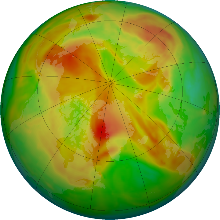 Arctic ozone map for 16 May 2013