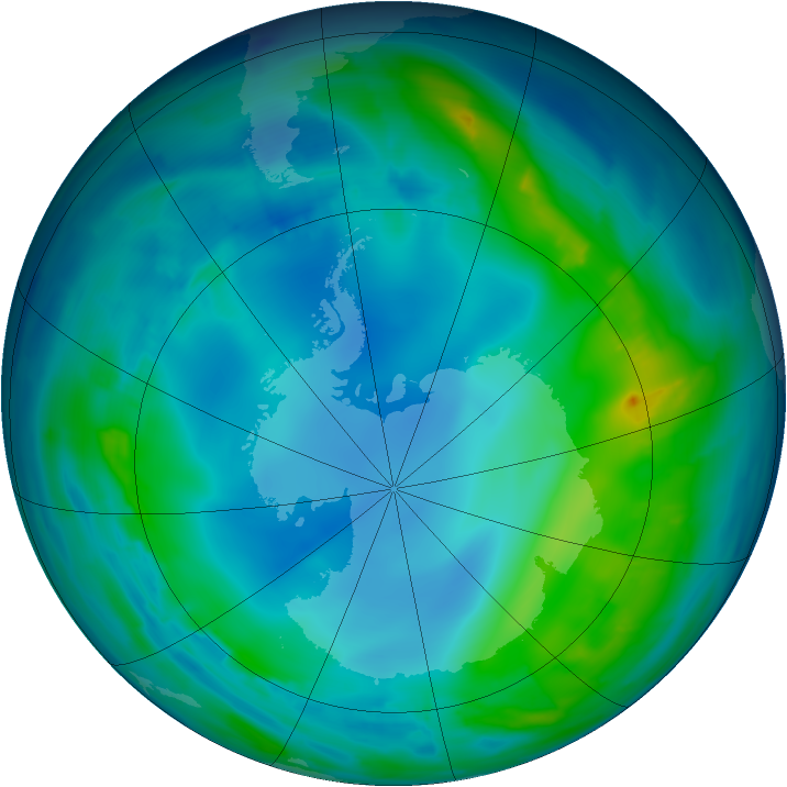 Antarctic ozone map for 16 May 2013