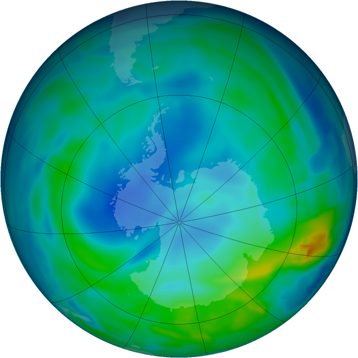 Antarctic ozone map for 18 May 2013