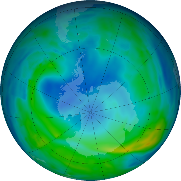 Antarctic ozone map for 19 May 2013