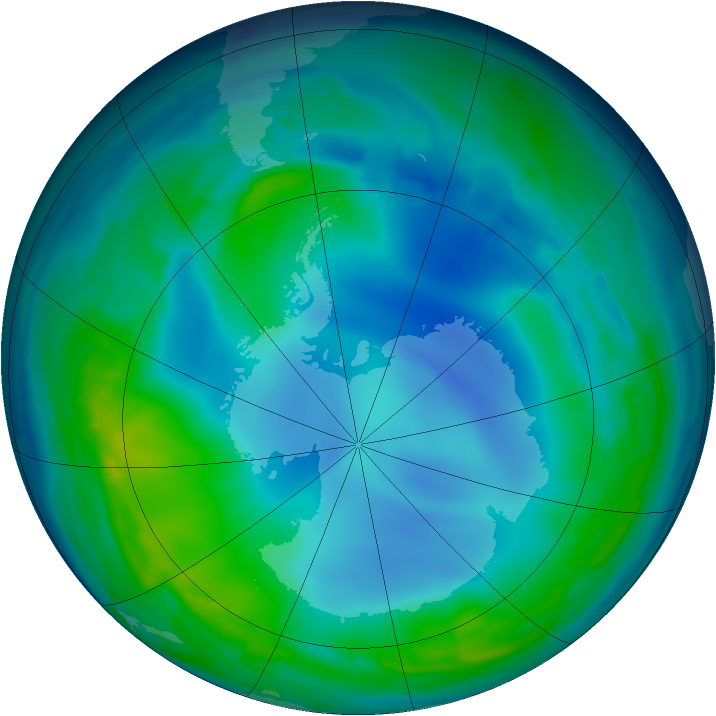 Antarctic ozone map for 22 May 2013