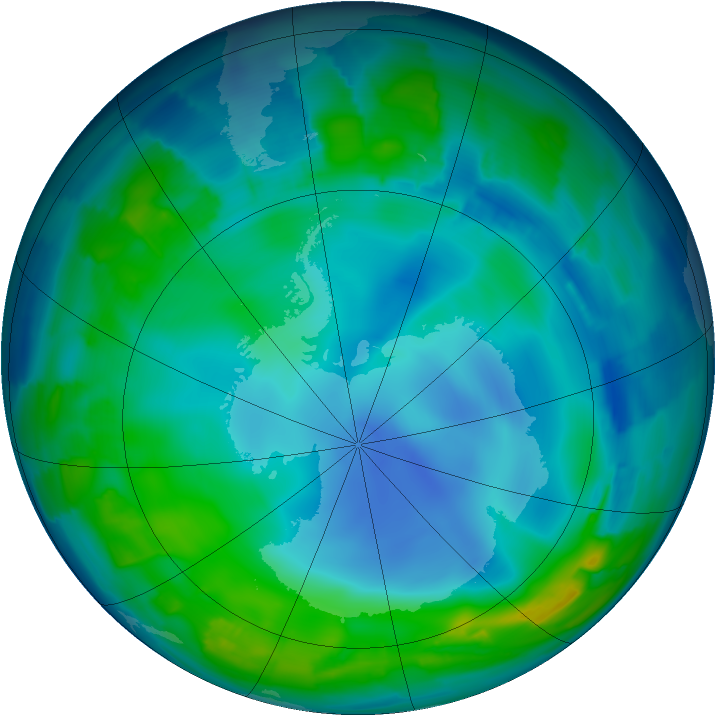 Antarctic ozone map for 25 May 2013