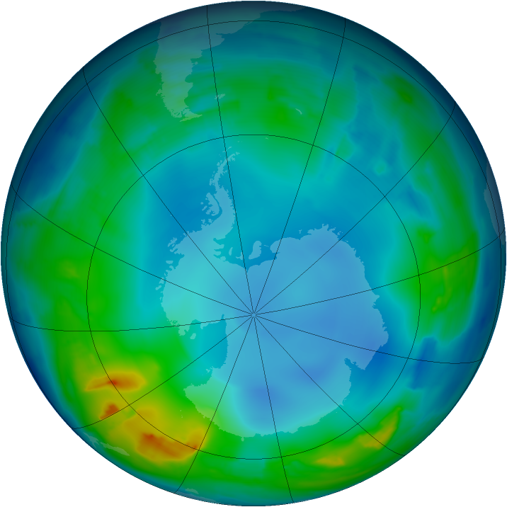 Antarctic ozone map for 27 May 2013