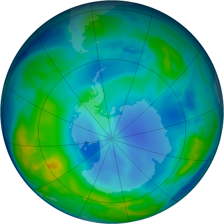 Antarctic ozone map for 29 May 2013