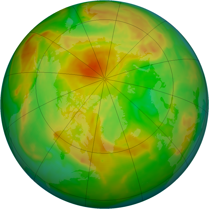 Arctic ozone map for 31 May 2013