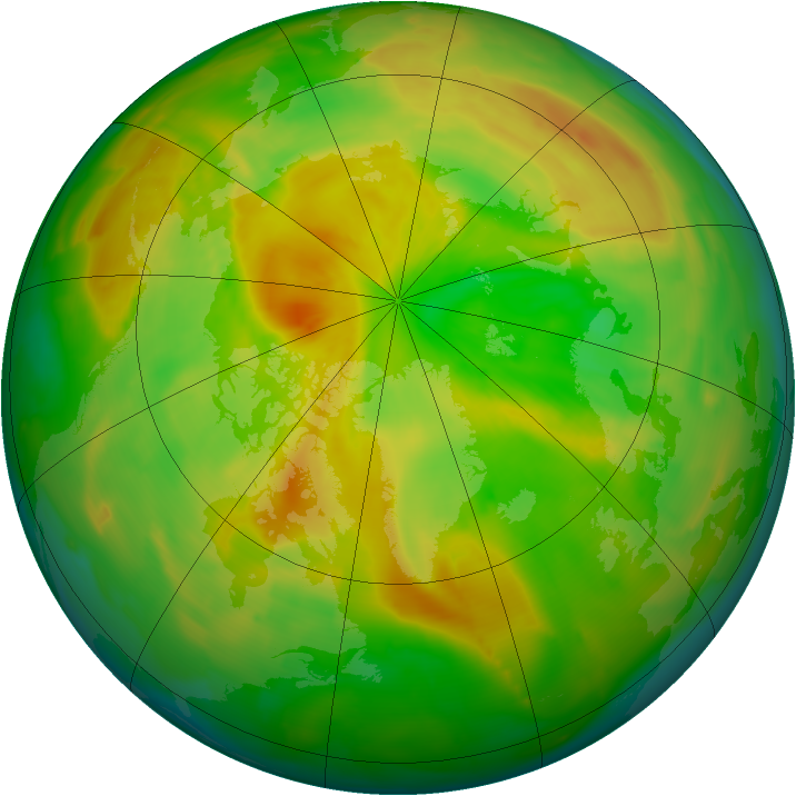 Arctic ozone map for 03 June 2013